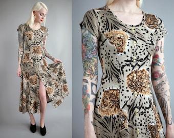 Vtg 90s Lion/Tiger/Cheetah Print Ribbed Knit Maxi Dress sz S