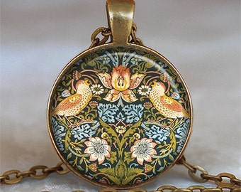 William Morris Strawberry Thief art pendant, William Morris art jewelry, William Morris necklace, Art Nouveau necklace