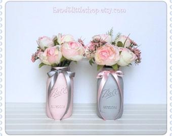 Mason Jar Wedding Centerpiece-Bridal shower Decor-Baby Shower Decor-Shabby Chic Decor-Vase Table Decor Blush Silver Gray Rustic Home Decor