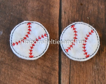 Baseball felties, set of 4, sports, felties, clippies, bow supplies, sewing