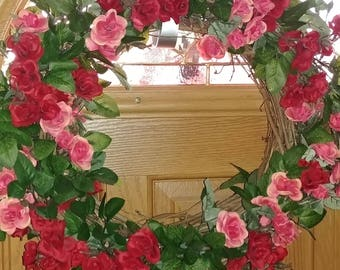 Mini rose grapevine wreath perfect for Spring/Summer