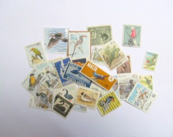 Bird used postage stamps from various countries: pack of 30.  Vintage ephemera for craft, scrapbooks, art journaling, smash books. S54