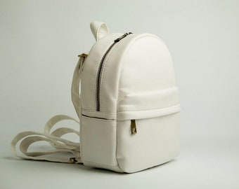 Eco leather backpack Mini backpack White backpack Vegan leather rucksack Small backpack Women rucksack City backpack Faux leather