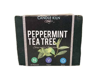ANTI-ACNE Peppermint Tea Tree with Activated Charcoal All-Natural PREMIUM Organic Cold Process Soap