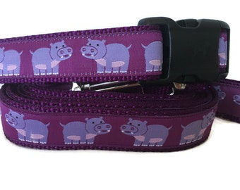 Dog Collar and Leash, Hippo, 6ft leash, 1 inch wide, adjustable, quick release, metal buckle, chain, martingale, hybrid, nylon