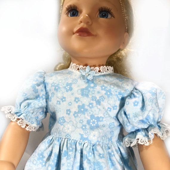 "Long Cotton Nightgowns with Lace Detail for American Girl and Other 18"" Dolls"