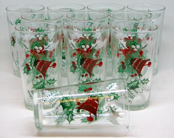 Vintage 1950s Bells and Holly Christmas Highball Glasses/Tumblers, Set of 11 — Midcentury Holiday Party Style