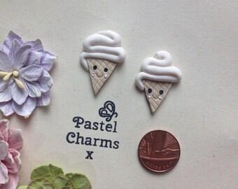Clay Flatback ice cream summer kawaii embellishments deco topper pack of 2
