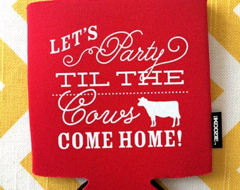 Wedding KOOZIE®, Party til the Cows Come home KOOZIE®, farm wedding favors, Country KOOZIE®, wedding favor, wedding bar favor