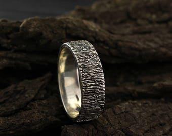 Rustic style wedding band, Tree bark ring, Silver tree wedding ring, Nature silver ring, Silver band, Men's wedding band, Women wedding ring