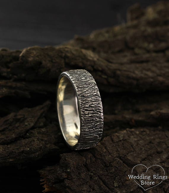 Rustic style wedding band Tree bark ring Silver tree wedding