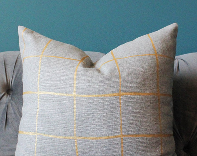 Kelly Wearstler Coquette Modern Neutral Pillow Cover- Gray and Gold Geometric Pillow Cover -Stripe Linen Throw - Check Plaid - Lee Jofa
