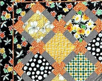 HOT SPOTS Quilt Pattern - B J Q 112 --- Printable Download Pdf E-Pattern Diy Free Shipping Digital Pattern Yellow Orange Black White