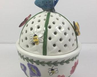 ON SALE Portmerion Trinket Box Presentation Box Votive Potpourri  Holder Butterfly Sculpted Floral Spring Bouquet Vintage Pristine  Conditi