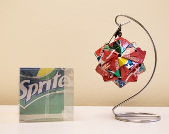 Coca-Cola with Sprite Origami Ornament.  Upcycled Recycled Repurposed Art.
