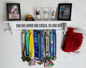Sports Medal and Trophy Shelf - She Believed
