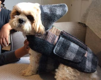 One of a Kind Grey Check Reversible Hooded Dog Coat