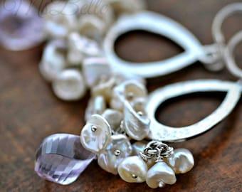 Pink Amethyst Keishi Pearl Hammered Teardrop Dangle Earrings in Sterling - Pink Gemstone White Pearl Cluster Earrings, Bridal Earrings