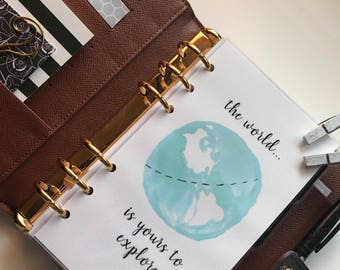 The World Is Yours to Explore Planner Dashboard // Watercolor // Pocket, Personal, A5