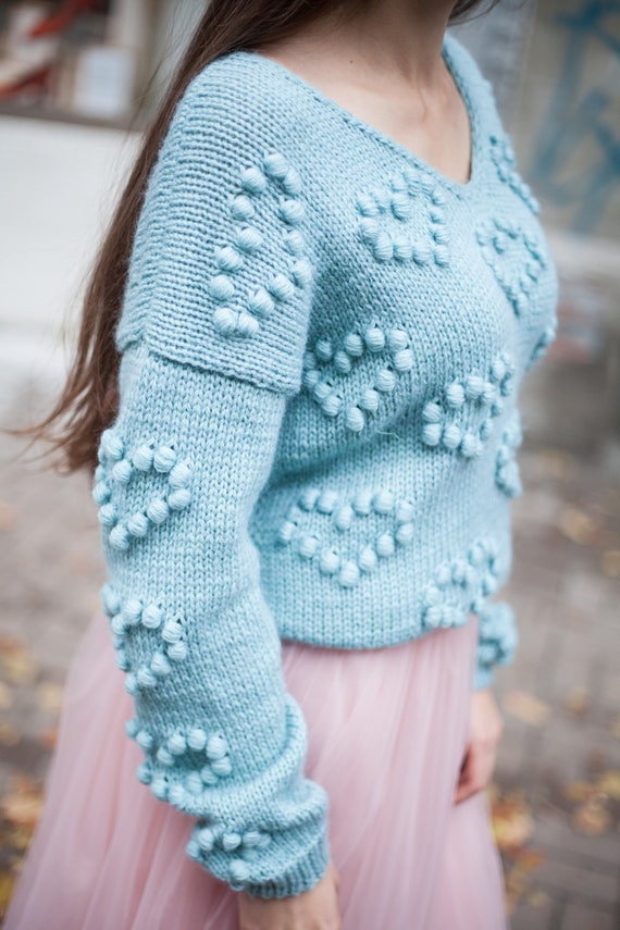 v chunky clothing sweater knit heart jumper pom women sweater knit pom gift Light pullover jumper blue Christmas knitted sweater pastel qp0ttU