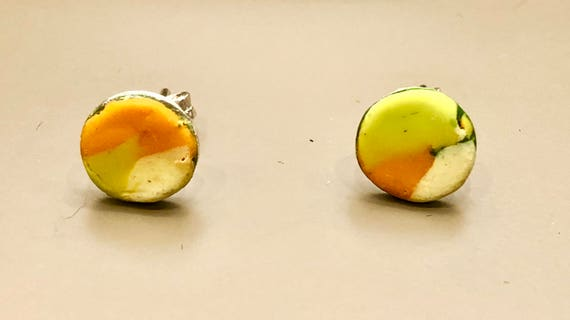 SJC10032 - Earrings - contemporary handmade lime green/orange/cream polymer clay sterling silver studs