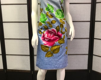 60s Vintage Deadstock Zacuto Blue Hawaiian Tiki Dress Not Used Floral Rose Design