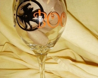 Halloween Wine Glass Boo Witch with gems