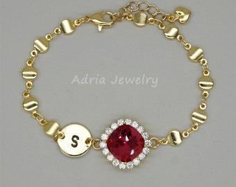 Personalized Bracelet, Initial Bracelet, Red Crystal Bridesmaids Bracelet, Gold Bridesmaid Gifts, Red Rhinestone Bracelet, monogram jewelry