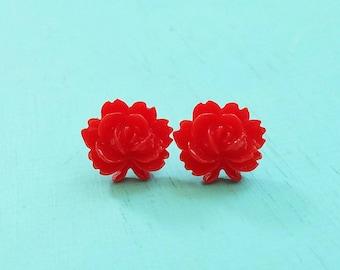 Flip Out Rose Beautiful Bloom Flower Earrings Red