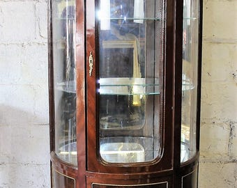 Vintage Mahogany And Curved Glass China Cabinet With Brass Ormolu Mounts