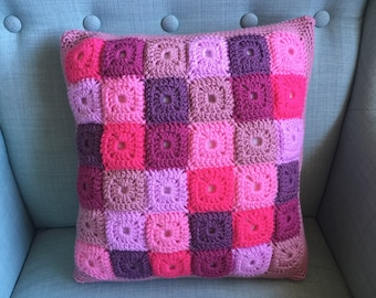 Crochet Scatter Cushion - Mosaic Pale Rose