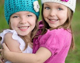 CROCHET PATTERN - Blooming Beauty - Flower Hat - All sizes from preemie to adults - PDF 125