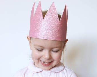 Kid's Glitter Crown, Pink Crown, Dress Up, Imaginative Play, Kid's Party Hat