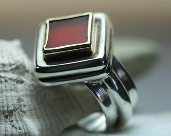 Carnelian Ring ,Sterling Silver Ring ,Carnelian  jewelry, Handmade  Silver Ring
