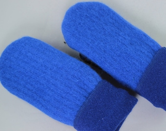 Electric Blue Suede Palm Small Mittens, Recycled Sweater Mittens