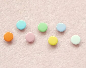100 sets, Pastel Shade (7 Colors) Capped Prong Snap Button, Size 18L (11.3 mm)