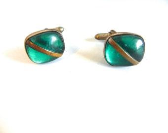 Vintage Cufflinks 40s Green Stone and Brass