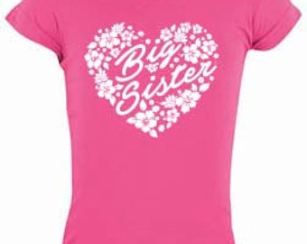 Big sister hot pink flower tee/big sister shirt/big sister shirts/big sister/pregnancy announcement/gift ideas