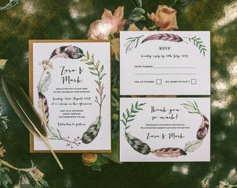 Printable Wedding Invitation - Feather & Fern / Rustic Boho DIY Wedding Stationery Suite