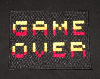 Embroidered Game Over 8-Bit Pixel Vintage 80s Retro Style Video Game Patch Iron Sew On USA