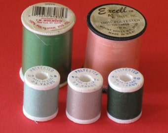 Vintage Sewing Thread LOT 5 Spools Polyester NEW Greens, Peach, Tan