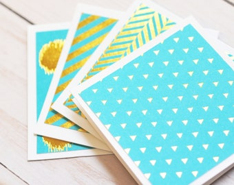 Turquoise and Gold Mini Cards // Set of 4 // Blank Cards // Enclosure Cards // Love Notes // Advice Cards // Gift Tag // Gold Foil