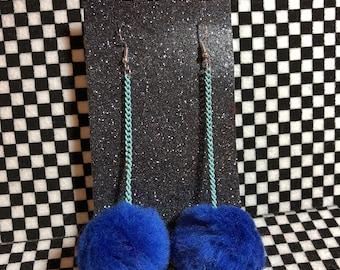 Blue Galaxy Space Puffs baby blue chain earrings