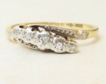 20% OFF SALE Art Deco Diamond Eternity Ring, Antique Twist Over Setting 18k Gold Diamond Engagement Ring Approx. Size US 7.5