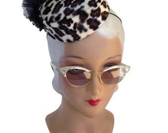 Pillbox Hat in Faux Leopard Fur in 50's Bellhop Pinup Style with Silk Flower and feathers