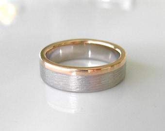 Gold Stripe Wedding Band, 4mm mixed metal Stacking Ring, Recycled 14k & 18k Stacker Wedding band, yellow and white gold ring
