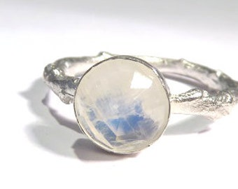 Moonstone Ring, Rainbow Moonstone Ring, Twig Rings, Sterling Silver Twig Ring, Rainbow Moonstone Twig ring, Branch Ring, Silver Twig Ring,