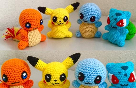 Amigurumi Patterns Pikachu : Crochet pattern set of a charmander pikachu squirtle and bulbasaur