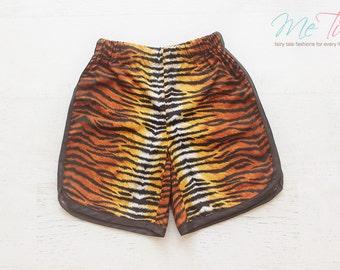 Boys Vintage Retro Style Tiger Stripe Animal Print Shorts