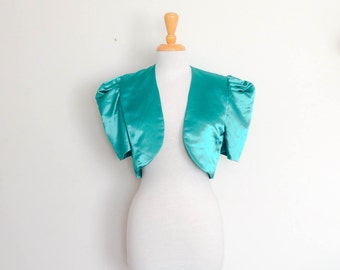 1980s Handmade Green Cropped Jacket with Puffy Sleeves Vintage